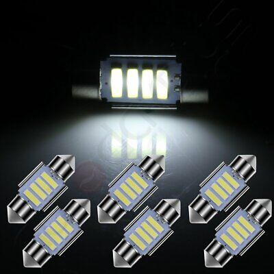 6pcs White 31mm Working Bulbs Interior Festoon LED Replacement Lights 4-SMD-7020