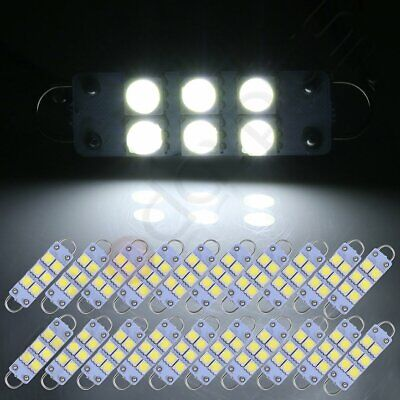 20pcs White 44mm 6-SMD-5050 Car Interior Festoon LED Replacement Lights Lamps