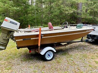 1975 Forester 141-14' Boat-65 HP Johnson Outboard & Caulkins Roller Trailer