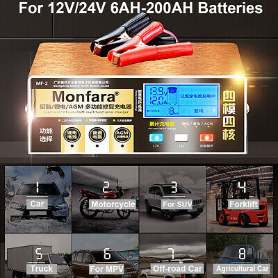 12/24V 4-200AH LCD Auto Pulse Repair Battery Charger For Car Motorcycle  /&&