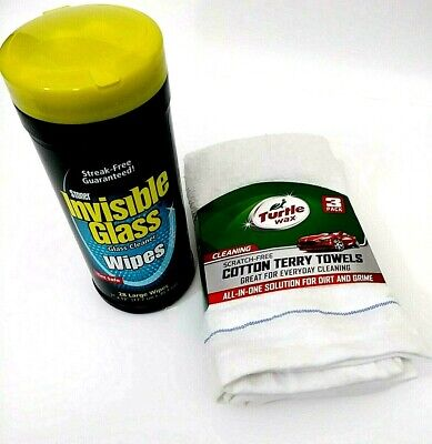 Turtle Wax Stoner Invisible Glass Cleaner & 3 Pack Scratch Free Terry Towels