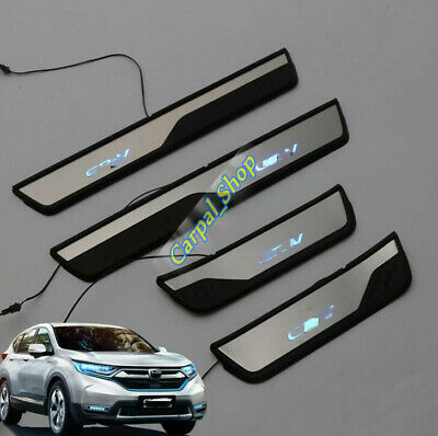 4PCS LED Illuminated Door Sill Scuff Plate Guards Trim For Honda CR-V 2017- 2019