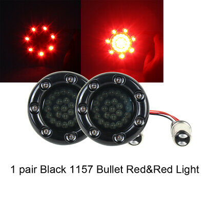 US BULLET RINGZ RED 1157 BASE REAR MOTORCYCLE LED TURN SIGNALS LIGHT